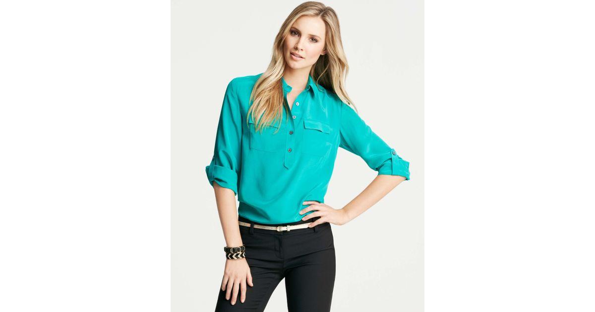 faeaa0a727776 Lyst - Ann Taylor Petite Silk Popover Camp Shirt in Blue