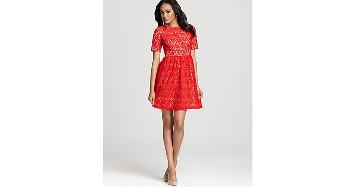 Adrianna papell Lace Dress Short Sleeve in Red   Lyst