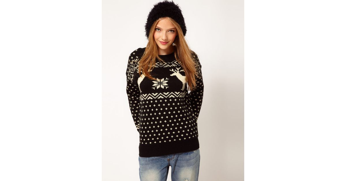 Asos Reindeer Fairisle Jumper in Black | Lyst