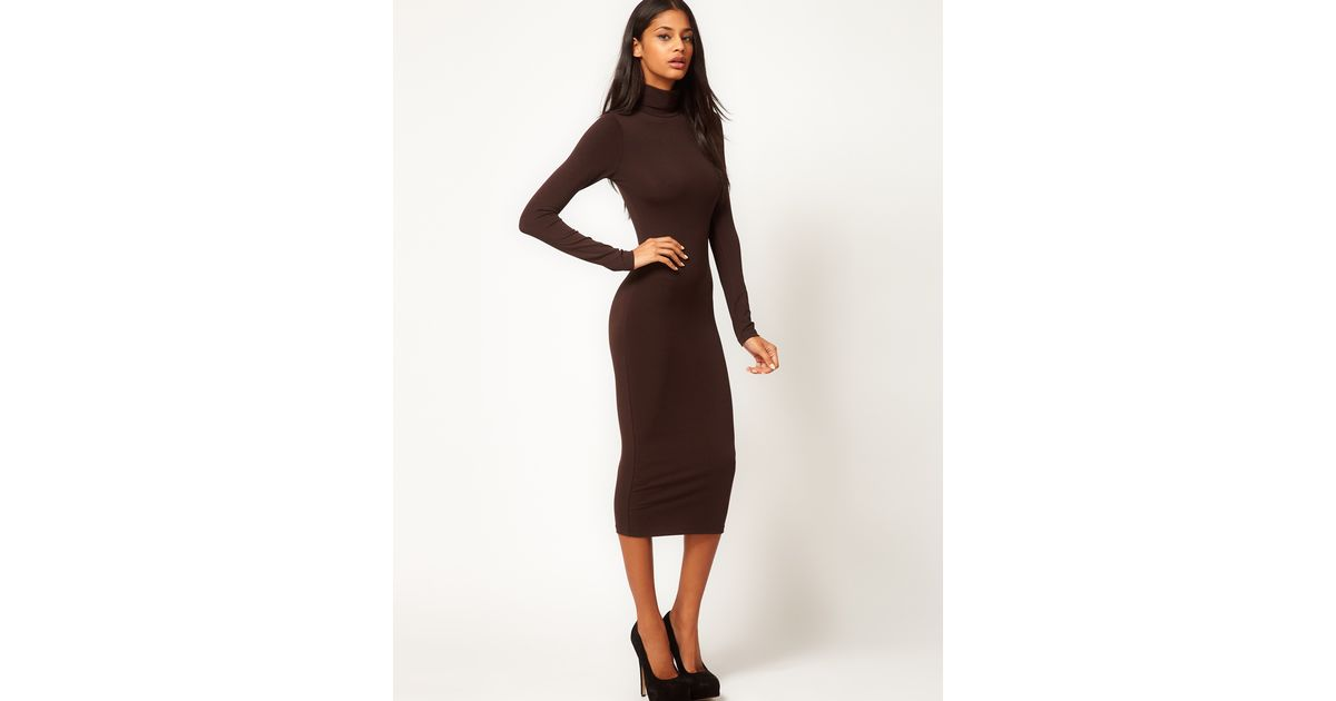 81a8c5284e7 ASOS Midi Bodycon Dress with Poloneck and Long Sleeves in Brown - Lyst