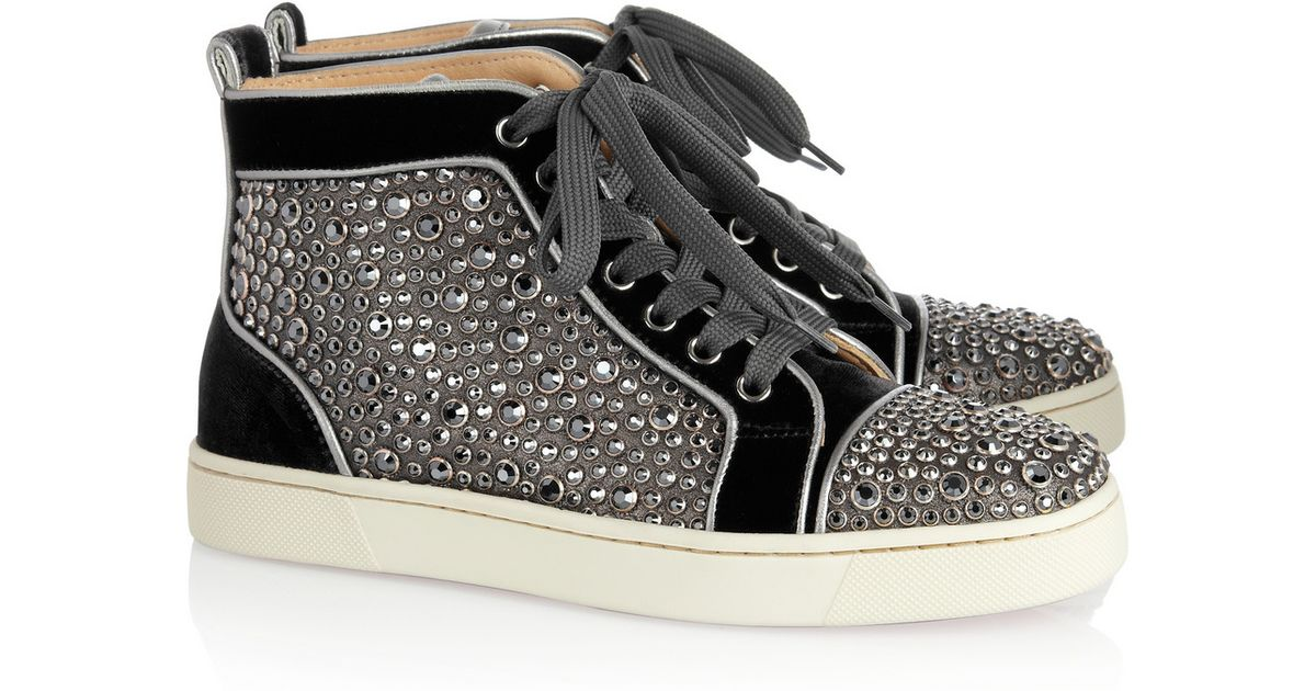 new style 27f81 917f4 Christian Louboutin Black Louis Woman Swarovski Crystal Velvet Hightop  Sneakers