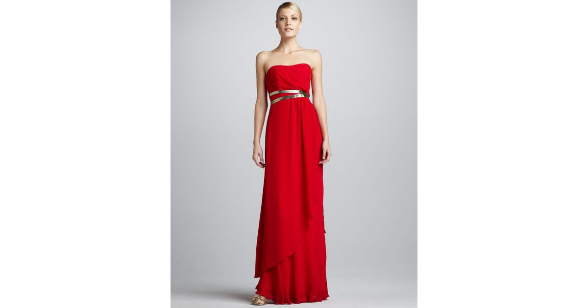 Lyst - Nicole Miller Foilbelt Strapless Gown in Red