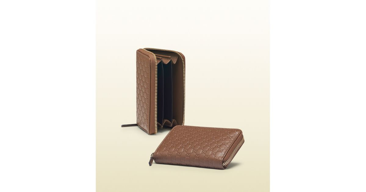abd30c909ca Lyst - Gucci Maple Brown Microguccissima Leather Card Case in Brown for Men