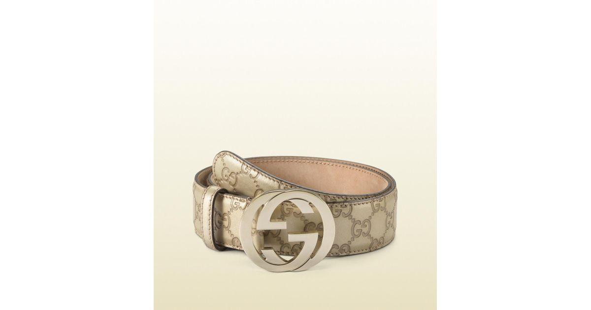 f2dbfe1c6dfc Lyst - Gucci Metallic Leather Belt With Interlocking G Buckle in Metallic