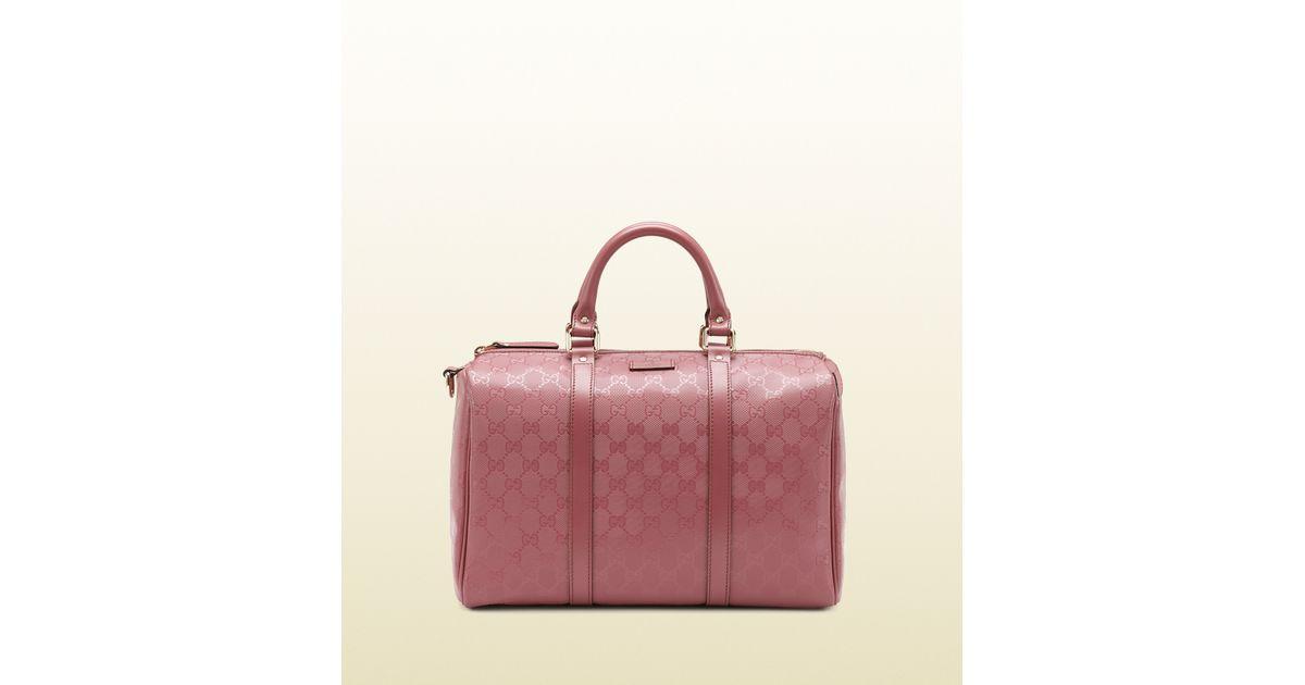 b13af95c7da Lyst - Gucci Joy Dark Pink Gg Imprimé Boston Bag in Pink