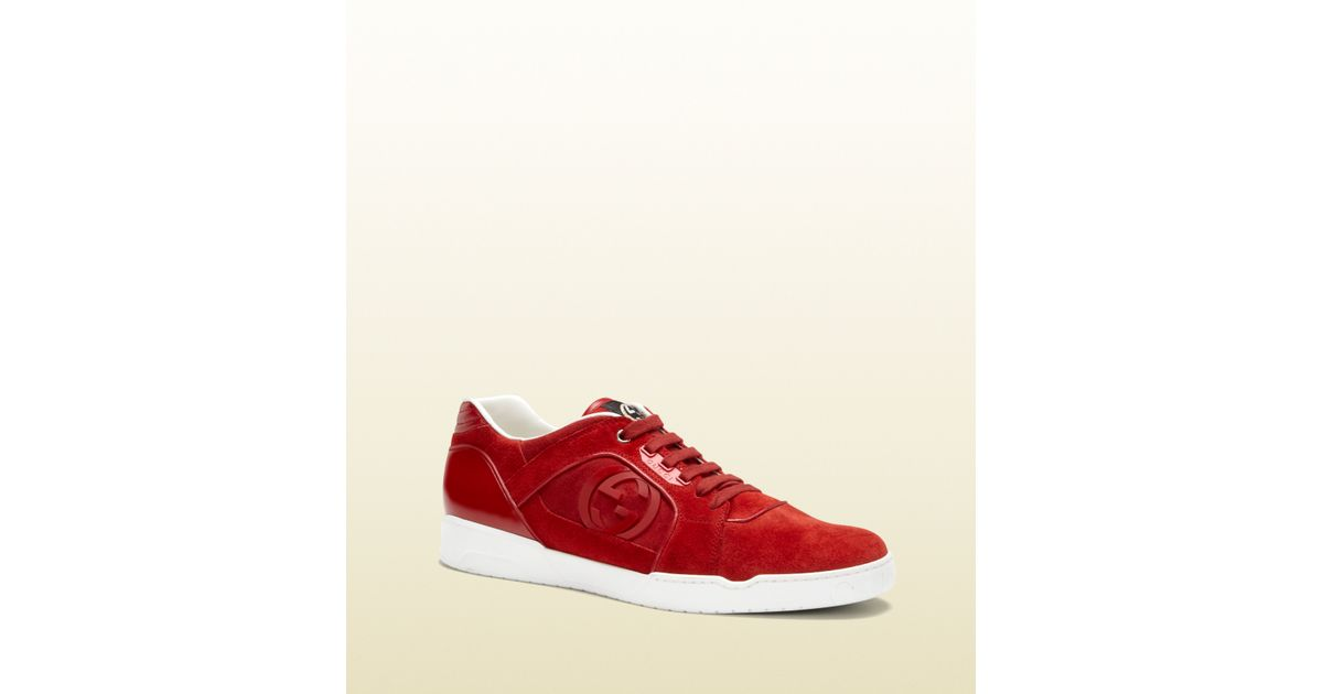 Gucci Light Red Suede Laceup Sneaker