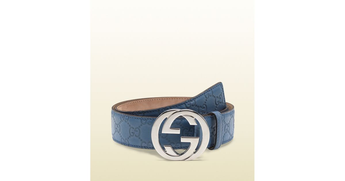 5b106a67739 Lyst - Gucci Sky Blue Guccissima Leather Belt with Interlocking G Buckle in  Blue for Men