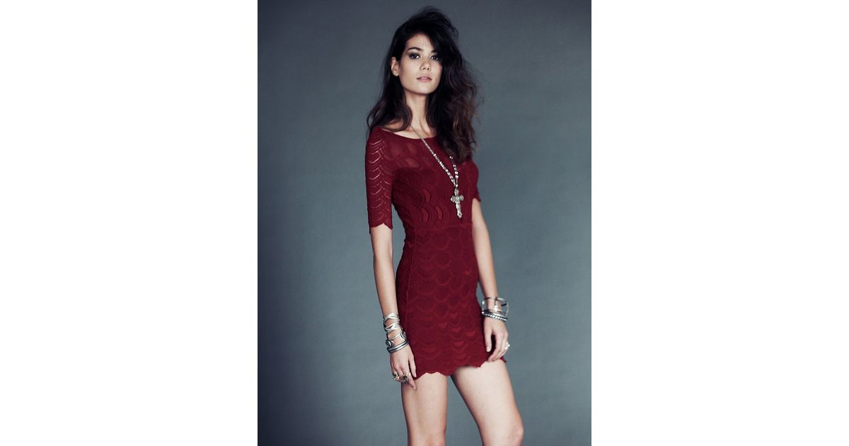 Lyst - Free People Boatneck Victorian Dress in Red 10dbd3b98