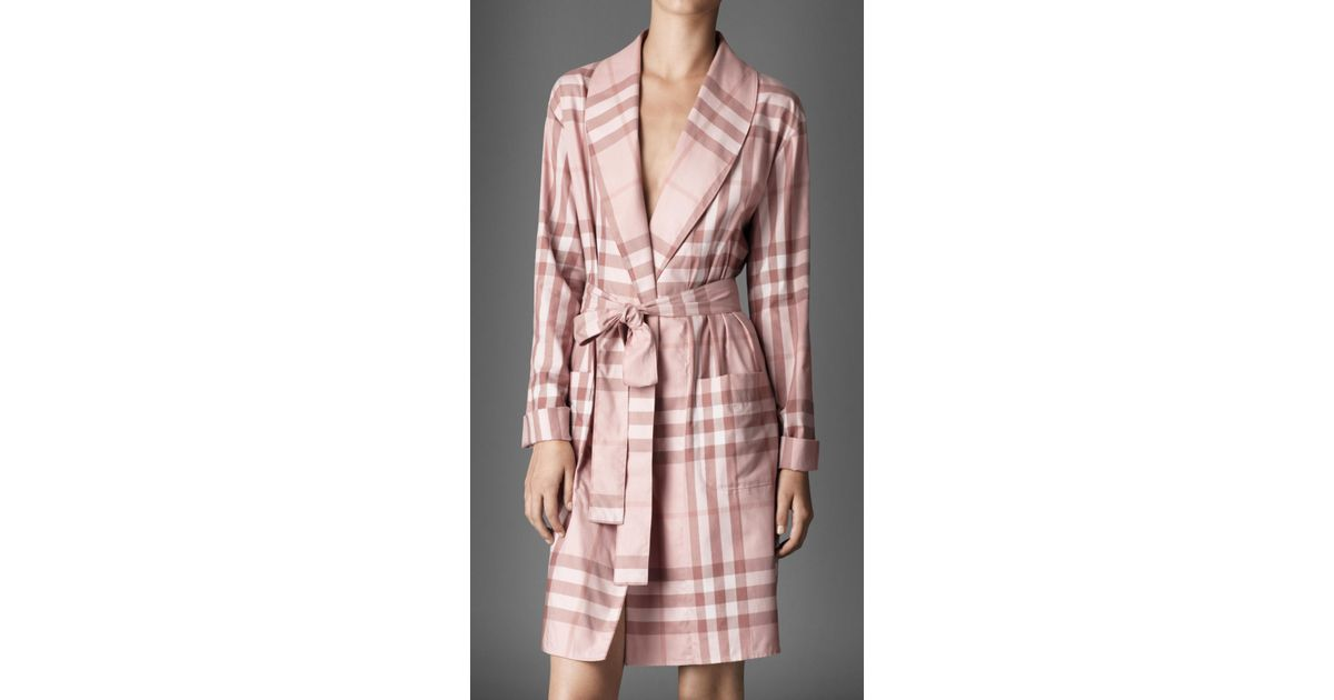 Lyst - Burberry Check Dressing Gown in Pink