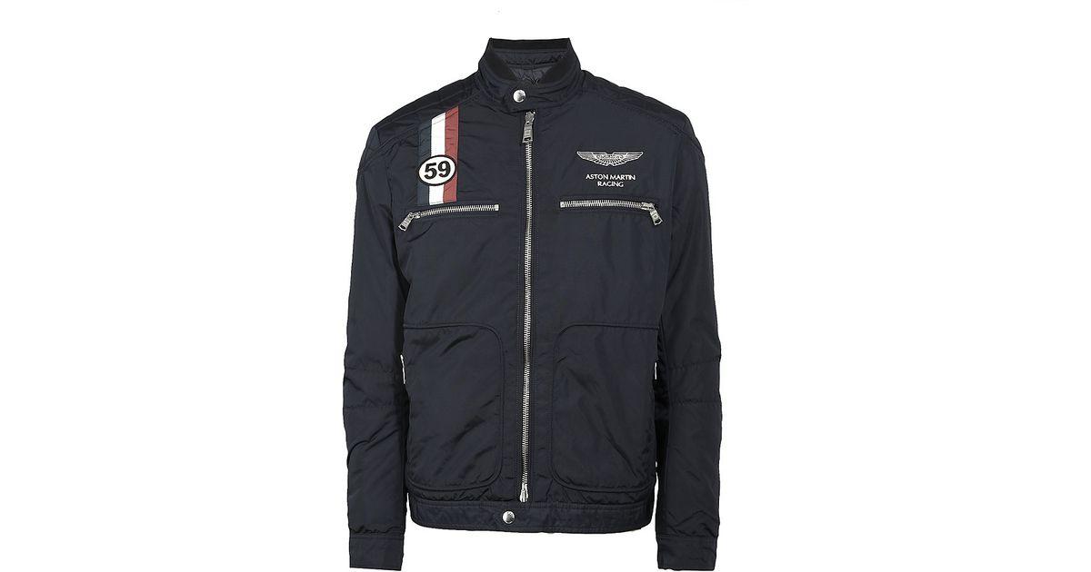 hackett aston martin racing gb moto jacket in blue for men lyst. Black Bedroom Furniture Sets. Home Design Ideas