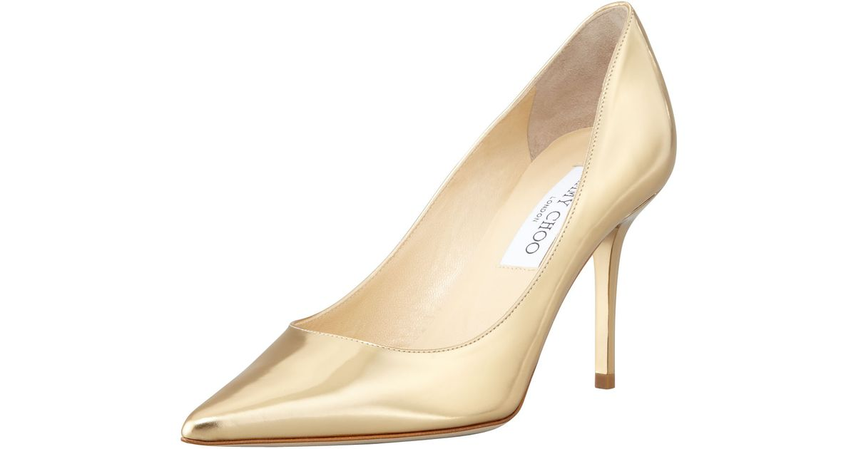 f9bc57435e8f38 Lyst - Jimmy Choo Agnes Mirror Leather Pointed Toe Pump Pure Gold in  Metallic