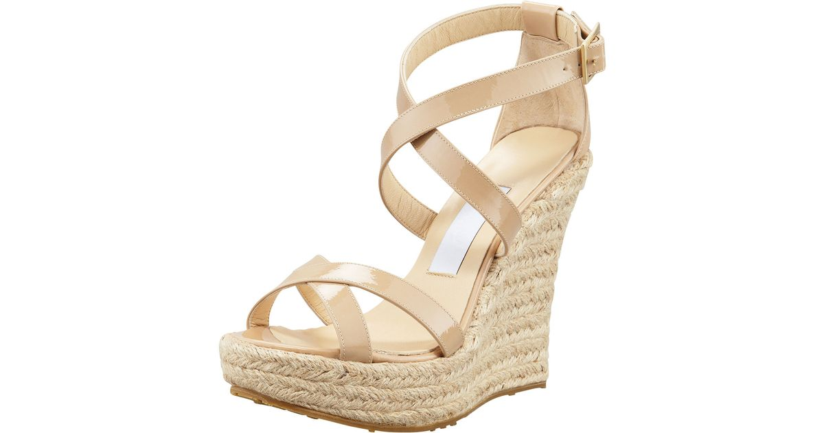 c27f761a609 Jimmy Choo Natural Porto Patent Espadrille Wedge Nude
