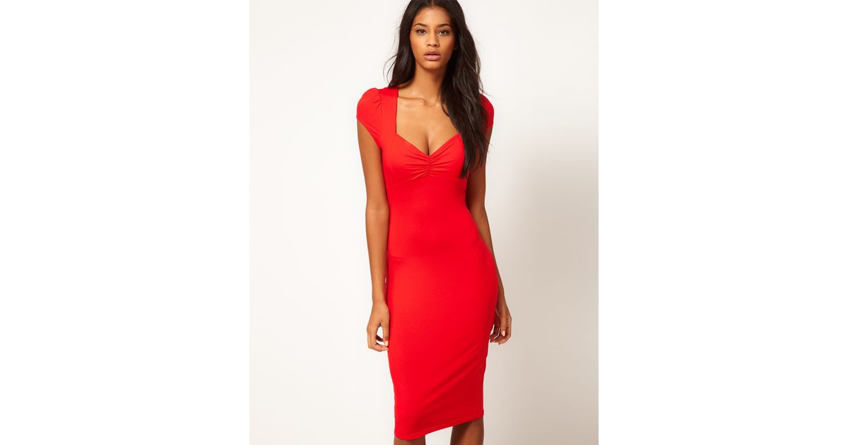 8bb9a6e4b904 Lyst - ASOS Collection Midi Bodycon Dress with Ruched Bust in Red