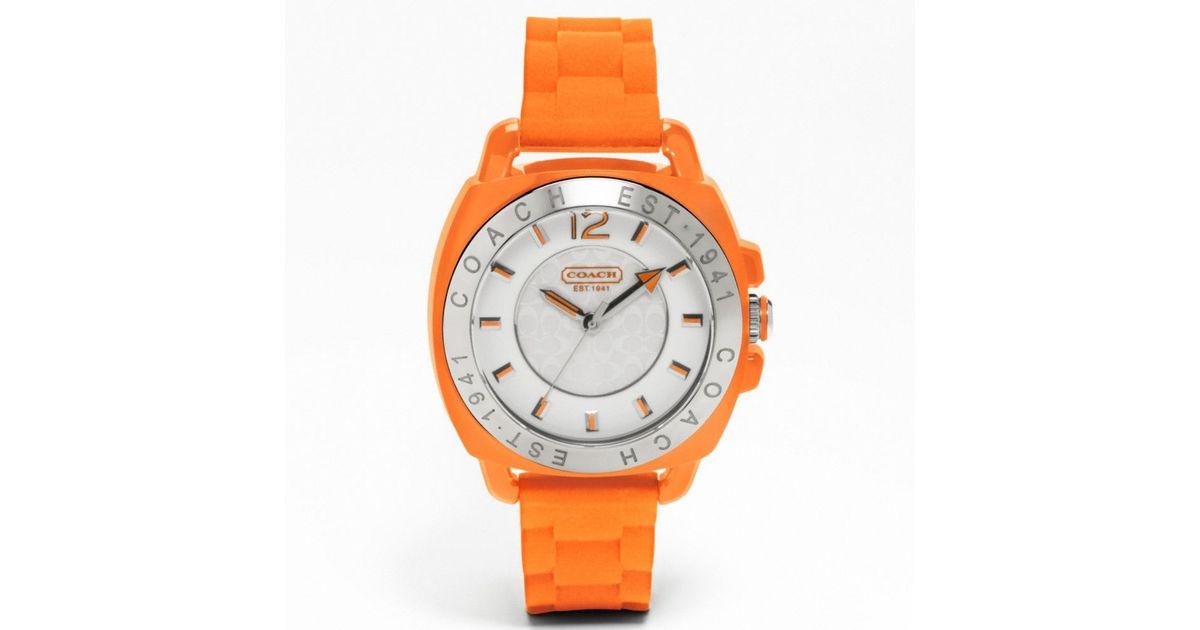 412c14e7cc5e Lyst - COACH Coach Boyfriend Rubber Strap Watch in Orange