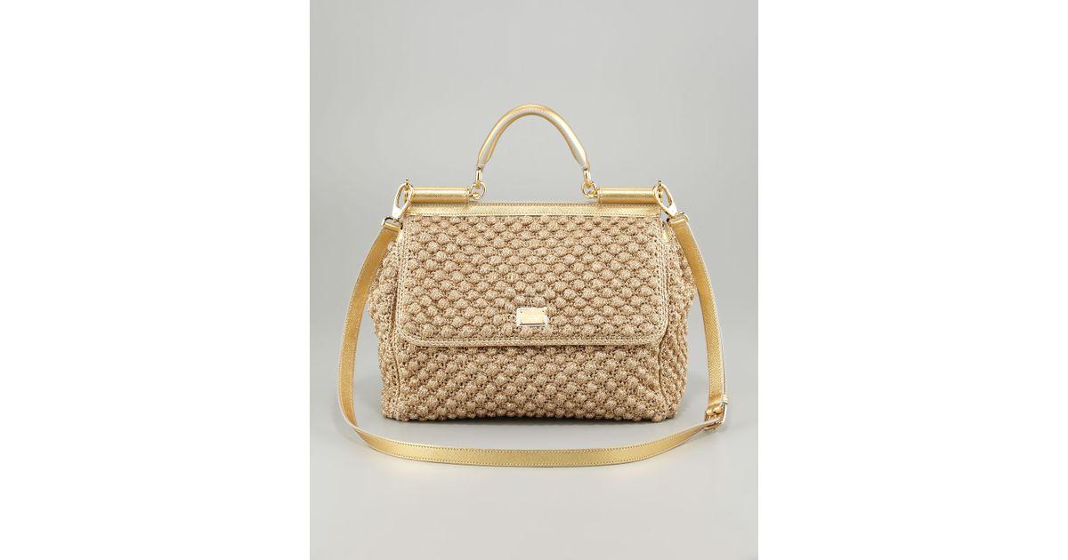 Lyst - Dolce   Gabbana Miss Sicily Metallic Crochet Flap Bag in Metallic 3fdc47b993