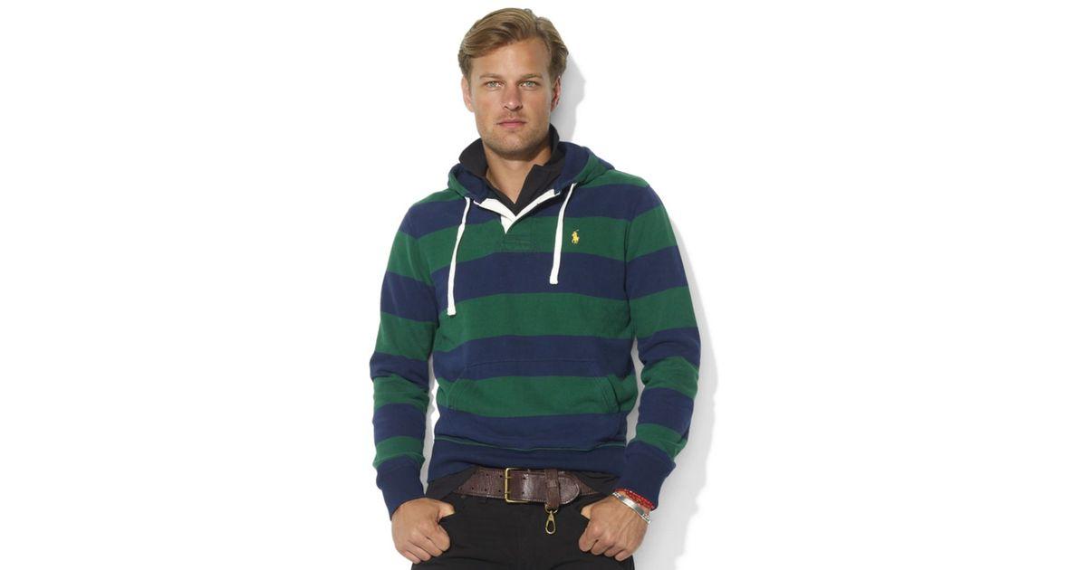 Lyst - Ralph Lauren Classicfit Stripe Rugby Hoodie in Green for Men c96b7c9b9