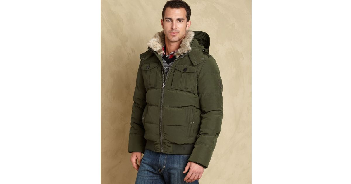 95910b131d Tommy Hilfiger Green Doug Bomber Puffer Hooded Coat European Collection for  men
