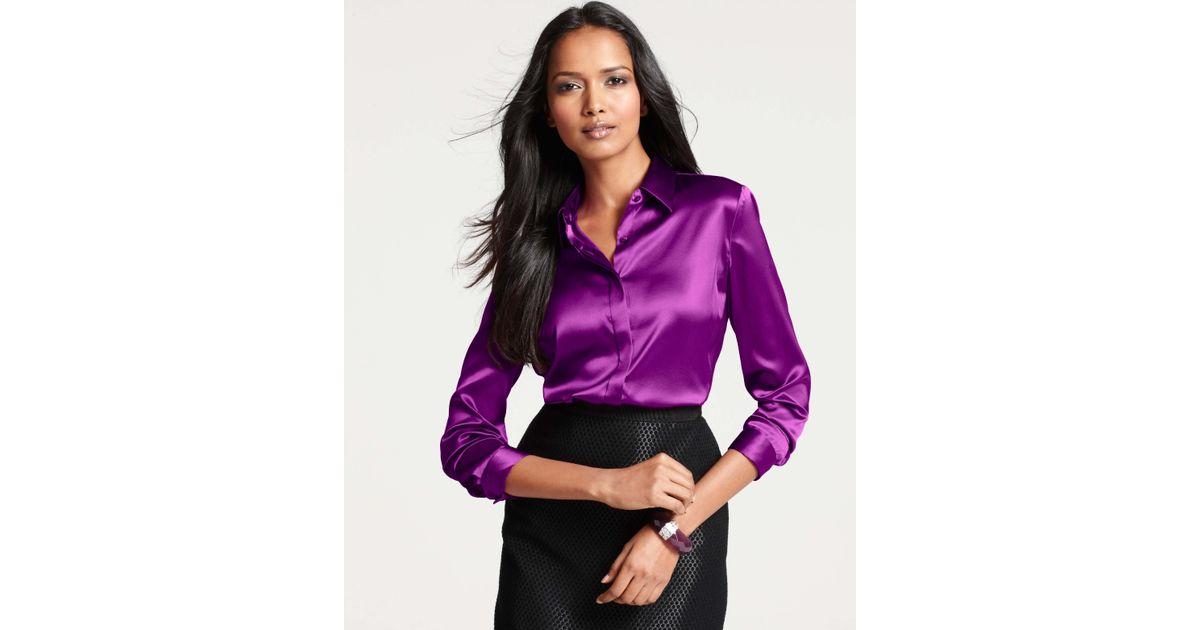 Ann Taylor Purple Silk Legacy Button Down Blouse