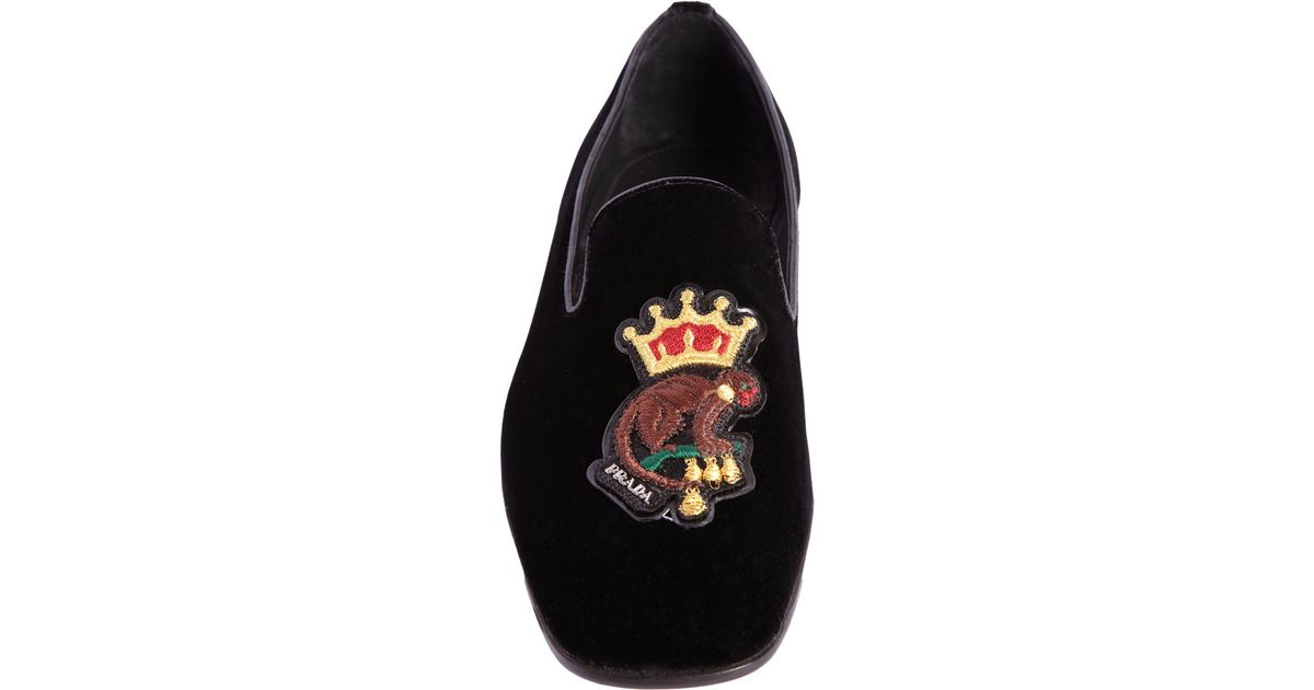 d8f61cebc963 ... cheap lyst prada embroidered monkey wholecut loafer in black for men  9f310 6956e