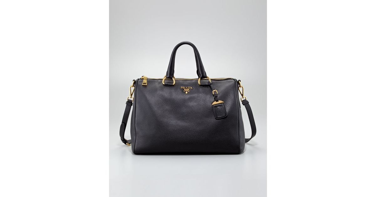 Prada Daino Medium Zip Tote Bag Nero in Black (nero) | Lyst