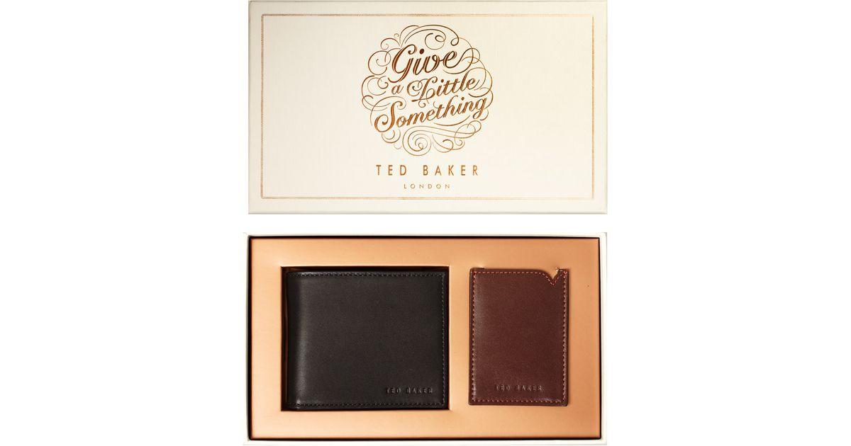 68c8dc63825 Lyst - Ted Baker Leather Wallet and Cardholder Gift Set in Black for Men