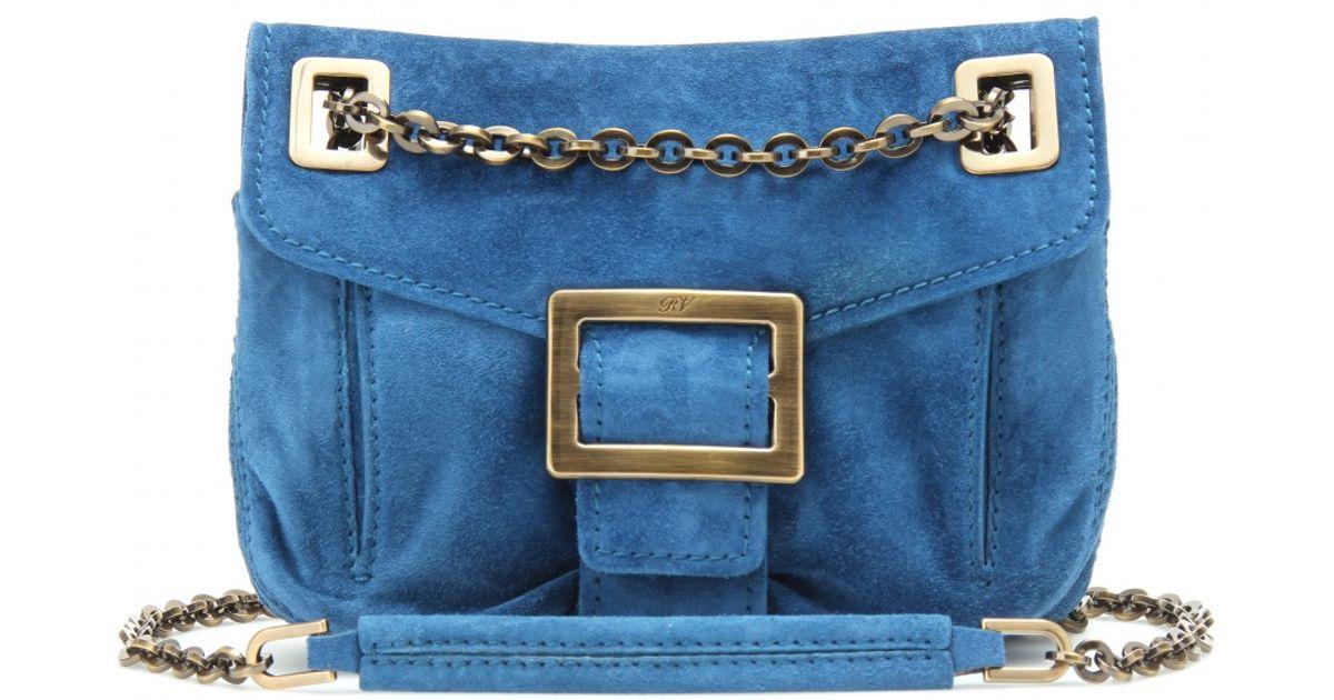 49ea3a8bd522 Lyst - Roger Vivier Micro Metro Suede Shoulder Bag in Blue