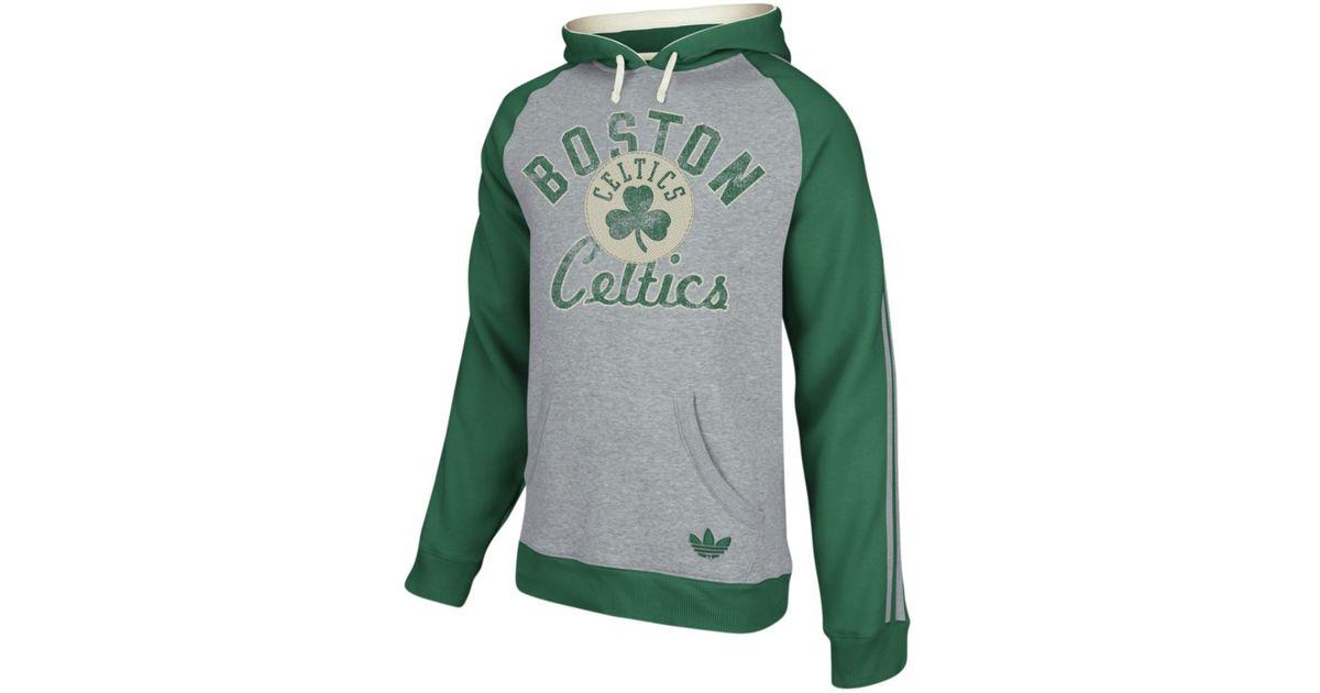 Adidas Gray Boston Celtics Fleece Raglan Pullover Hoodie for men