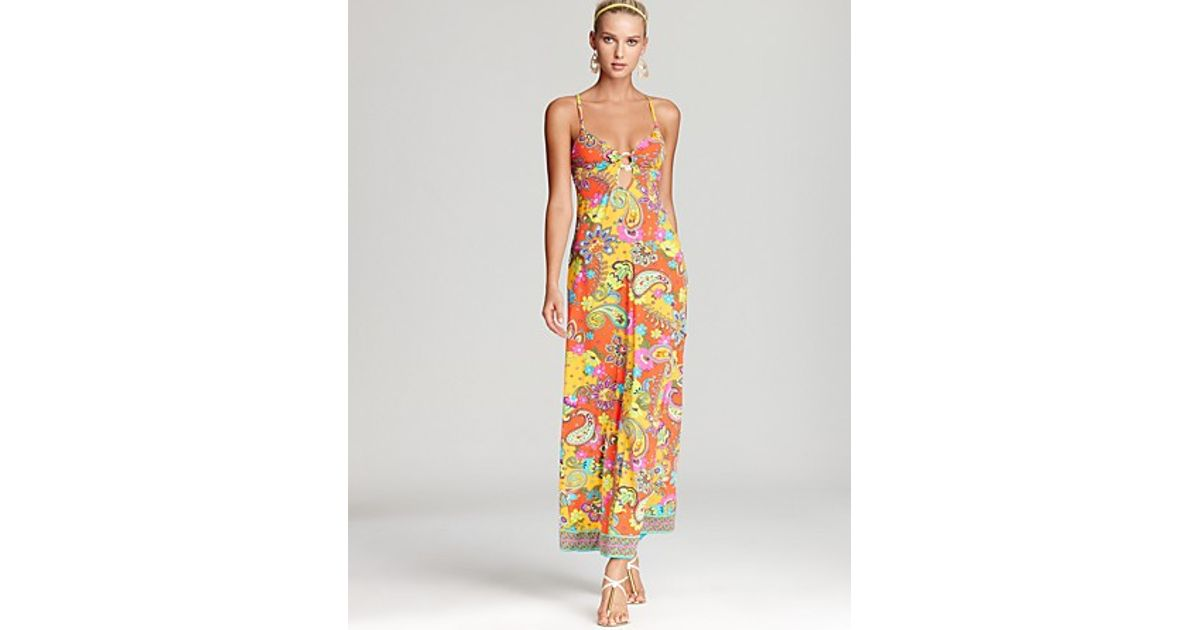 a6c4d42a0c5 Lyst - Trina Turk Summer Of Love Ring Front Coverup Maxi Dress