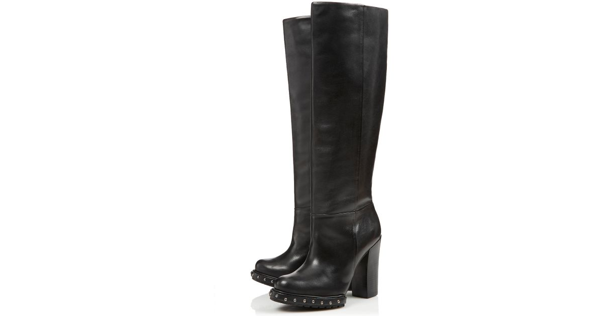 topshop midnight knee high boots by cjg in black lyst