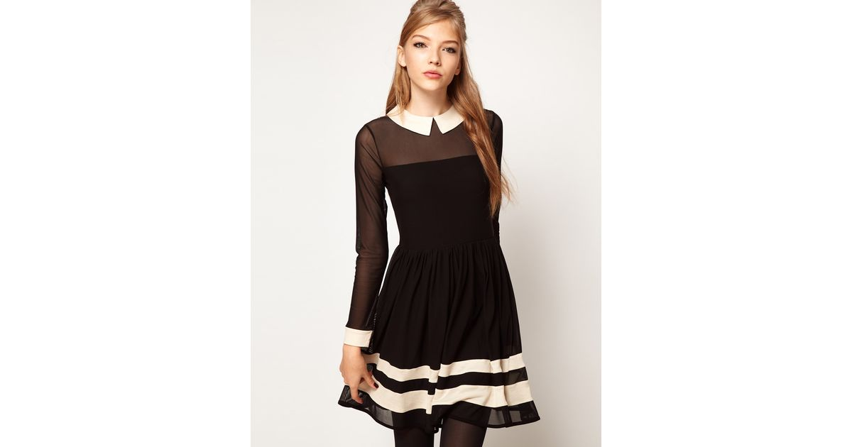 Lyst Asos Skater Dress In Mesh With Contrast Detail In Black