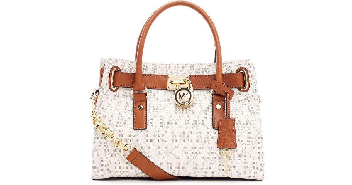 004fa5250624 MICHAEL Michael Kors Hamilton Logo Satchel Bag in Brown - Lyst