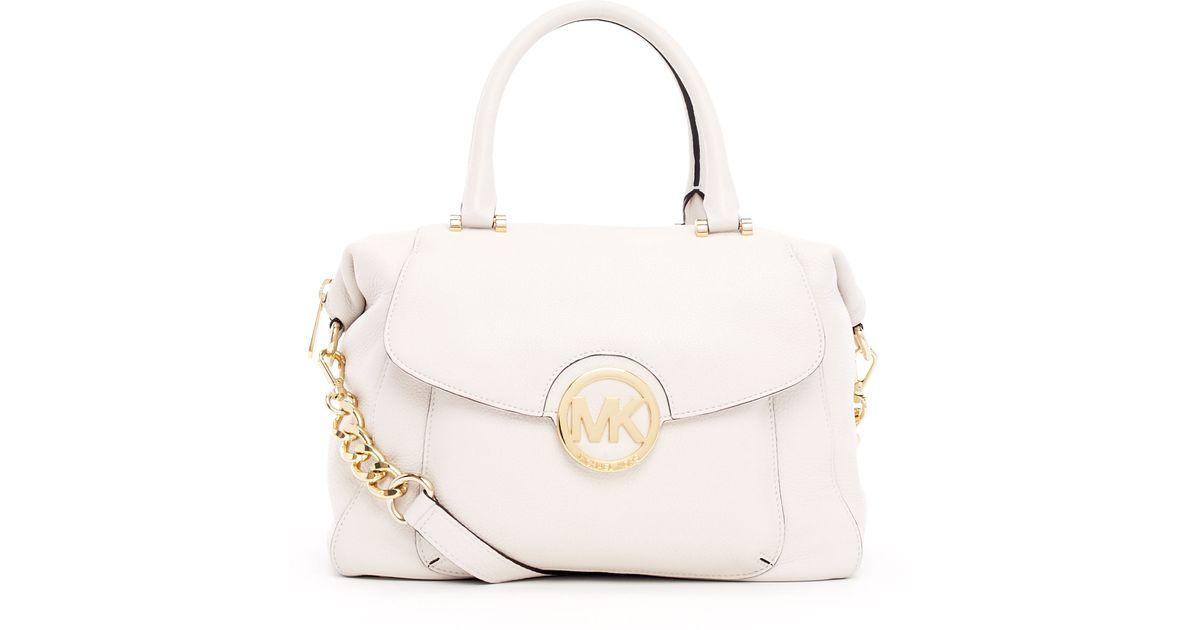 f14c59b12c93 Lyst - MICHAEL Michael Kors Large Fulton Pebbled Leather Satchel Bag in  White