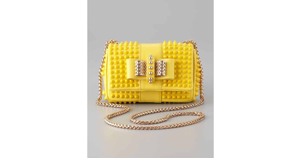 cea444636df Christian Louboutin - Yellow Sweet Charity Mini Spiked Shoulder Bag - Lyst