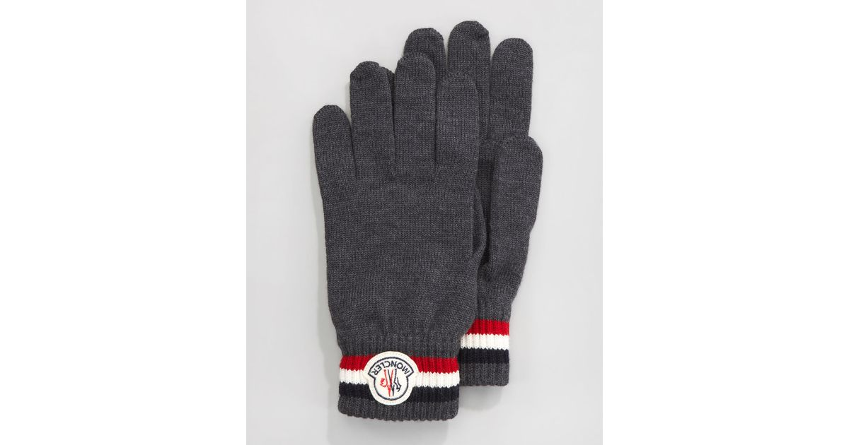fad9c9844 Lyst - Moncler Flagtrim Gloves in Gray for Men