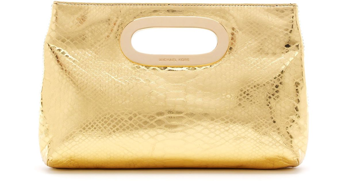 5be0ceee962a MICHAEL Michael Kors Berkley Metallic Pythonembossed Clutch Bag in Metallic  - Lyst