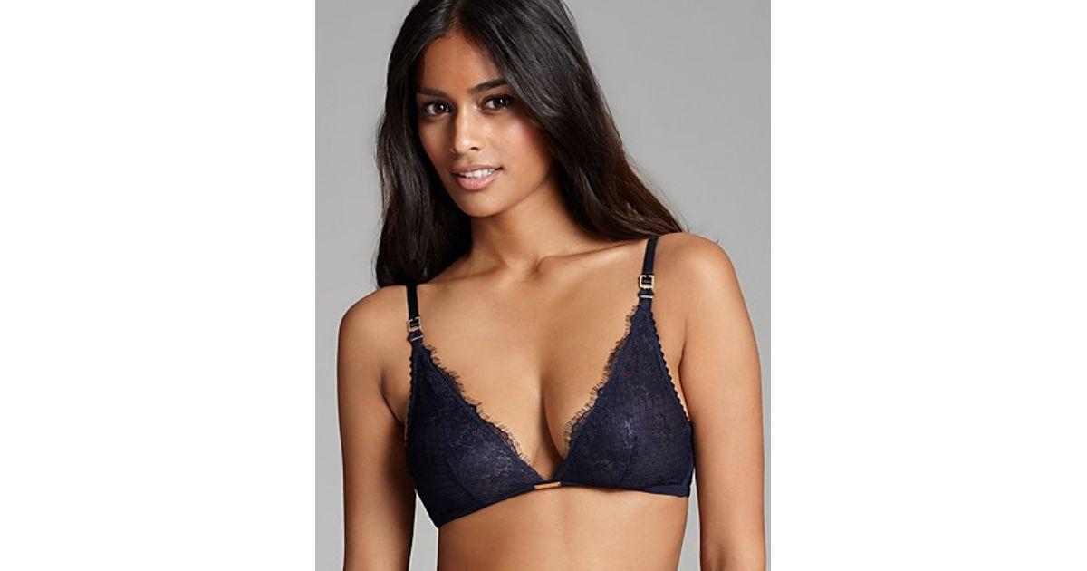 c4122f989275b Lyst - Ash Calvin Klein Underwear Bralette Eyelash Chantilly Lace Triangle  in Blue