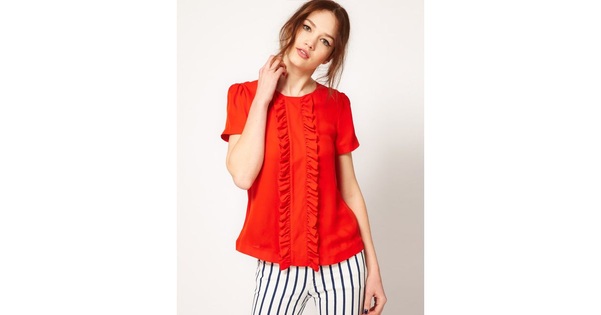 95f052f066c54f Lyst - Boutique by Jaeger Silk Blouse with Frill Front in Red