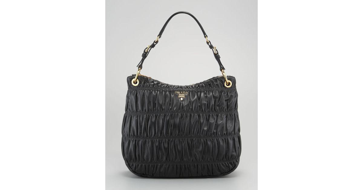 Prada Napa Gaufre Hobo Bag in Black (cordovan) | Lyst