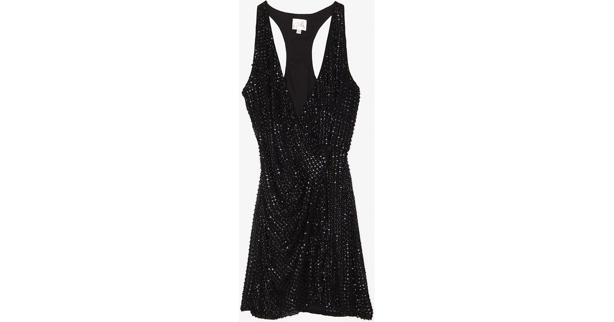 e5f42bac4cc Lyst - Parker Exclusive Racer Back Sequin Wrap Dress in Black