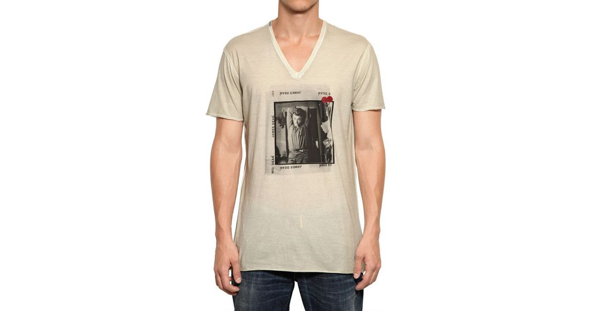 2decbe42f3afe1 Dolce & Gabbana James Dean Raw Cut Light Jersey Tshirt in Natural for Men -  Lyst