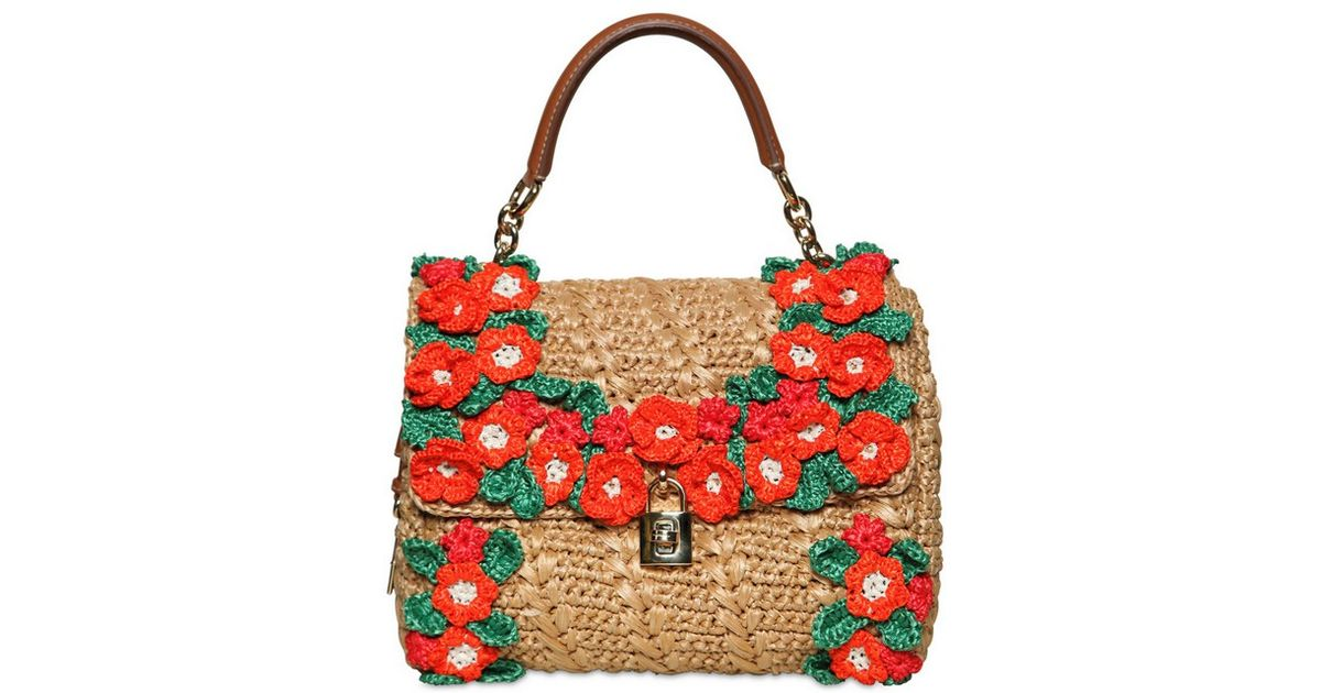 b92fbe625d24 Lyst - Dolce   Gabbana Crochet Raffia Dolce Bag Top Handle in Natural