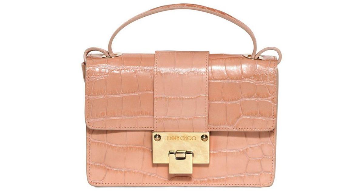 6553cf428f Jimmy Choo Rebel Mock Crocodile Print Leather Bag in Pink - Lyst