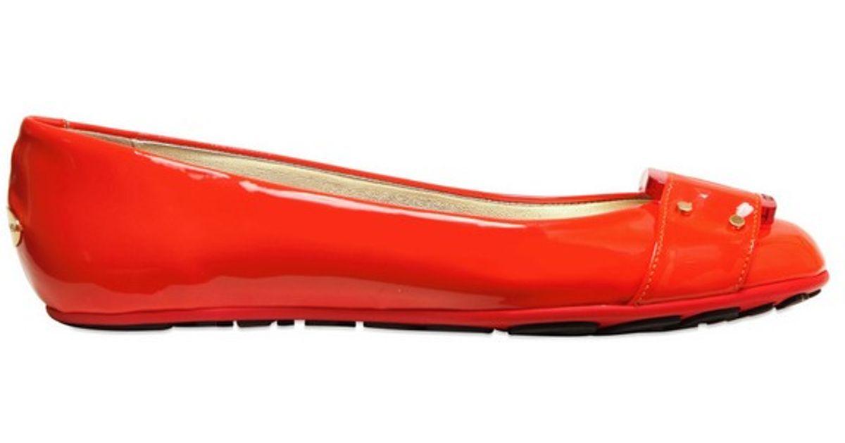 ea19886827e ... free shipping lyst jimmy choo 10mm patent leather ballerina flats in  orange 2ebe3 5ce93