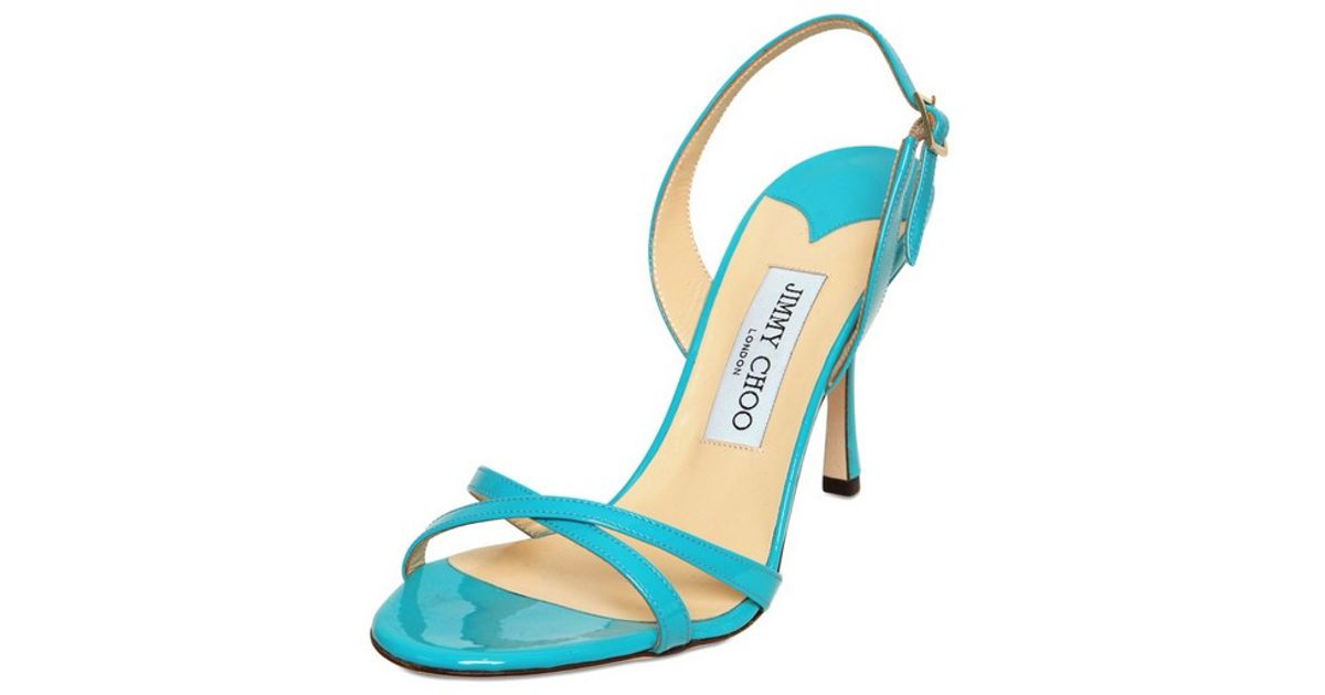 0ce2dfb20886 Lyst - Jimmy Choo 85mm India Patent Leather Sandals in Blue