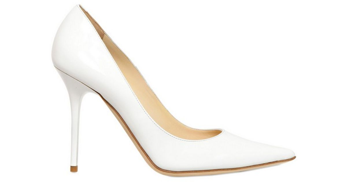 eab7e42c8bc Lyst - Jimmy Choo 100mm Abel Patent Leather Pointy Pumps in White