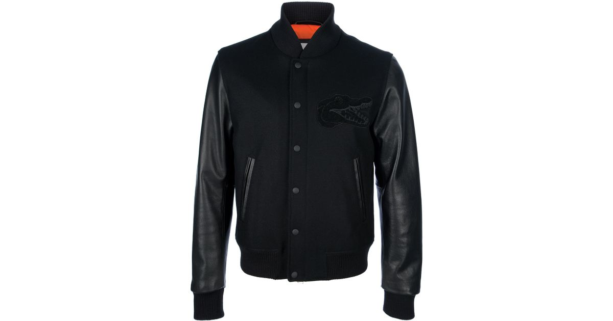 0a16019ec Lacoste L!ive Black Contrast Sleeve Bomber Jacket for men