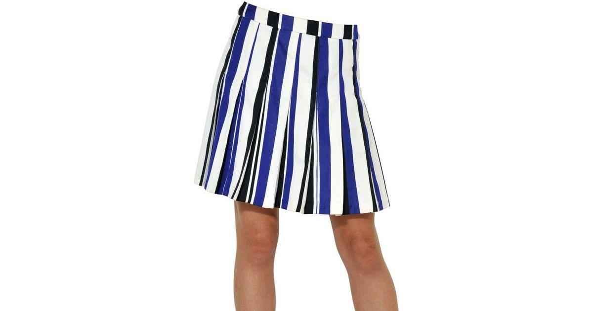 884fc90616 Marni Striped Matt Cotton Satin Pleated Skirt in Blue - Lyst