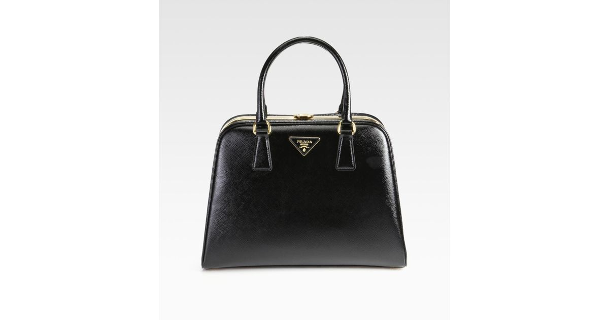 fef27e1b96f7 ... reduced lyst prada saffiano vernice frame pyramid tophandle bag in  black ae5a6 e25ec