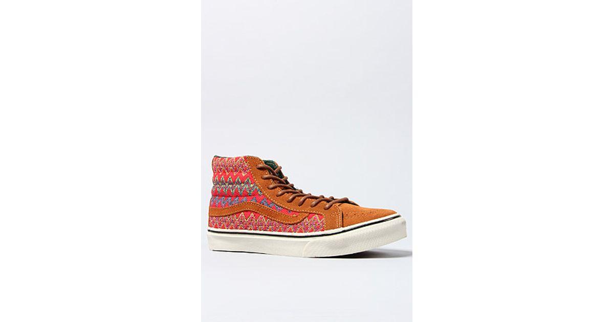 4ddcf1168c Lyst - Vans The Sk8 Hi Slim Ca Sneaker in Brown and Red Zig Zag in Brown