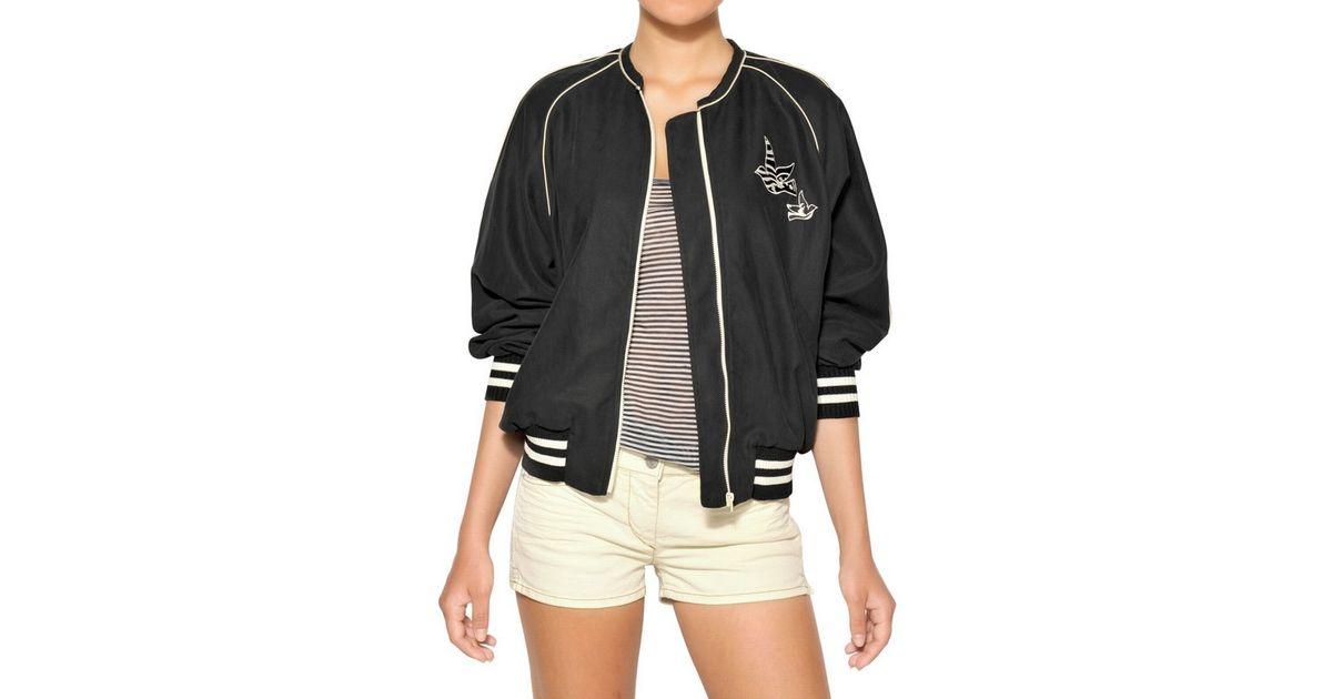 e7af3e99e Étoile Isabel Marant Black Freedom Cotton Drill Bomber Jacket